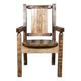 Abella Solid Wood Slat Back Arm Chair by Loon Peak®