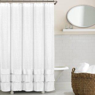 Imane Ruffled Belgian Linen Single Shower Curtain