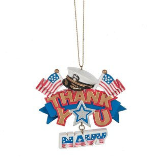 thank you navy christmas ornament