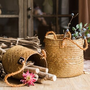 2 Piece Rustic Natural Straw Picnic Basket Set