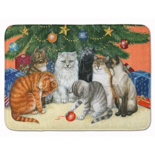 Cats under the Christmas Tree Memory Foam Bath Rug