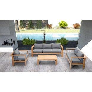 Felicia 4 Piece Teak Sunbrella Sofa Set with Cushions