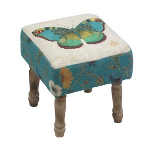 Hidalgo Butterfly Print Stool By Lily Manor
