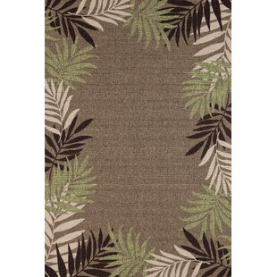 Springcreek Beautiful Tropical Palm Leaves Brown/Green Indoor/Outdoor Area Rug By Bay Isle Home
