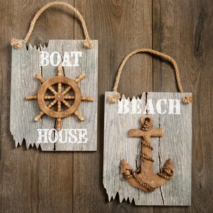 2 Piece Nautical Themed Hanging Wall Décor Set