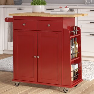 Ferraro Kitchen Cart with Wooden Top Alcott Hill