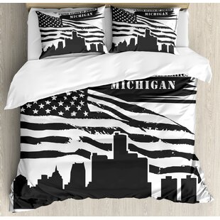 East Urban Home Detroit Monochrome Grunge City Silhouette American Flag United States Michigan Duvet Set