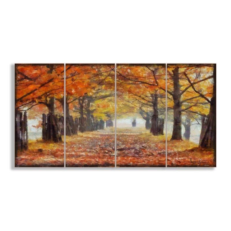 Stupell Industries A Walk Through the Autumn Trees 4 Piece Canvas ...