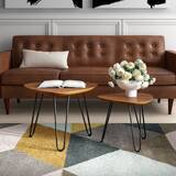 Labarge Hairpin Leg Wood 2 Piece Coffee Table Set by Mercury Row