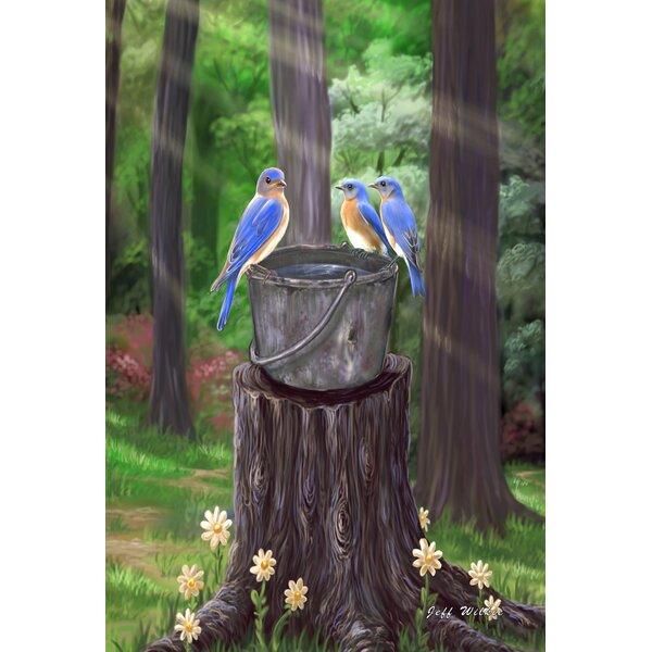 Toland Home Garden Birds On A Bucket 28 X 40 Inch House Flag Wayfair