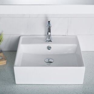Budget Elavo Ceramic Square Vessel Bathroom Sink with Overflow By Kraus