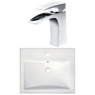 Semi-Recessed Rectangular Vessel Bathroom Sink with Faucet ByRoyal Purple Bath Kitchen