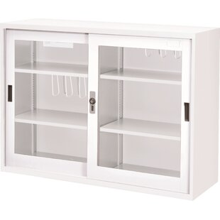 34.6 Glass Doors With Lock Storage Cabinet by Symple Stuff Comparison