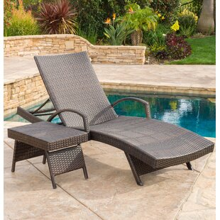 Darby Home Co Peyton Adjustable Wicker Chaise Lounge and Table Set