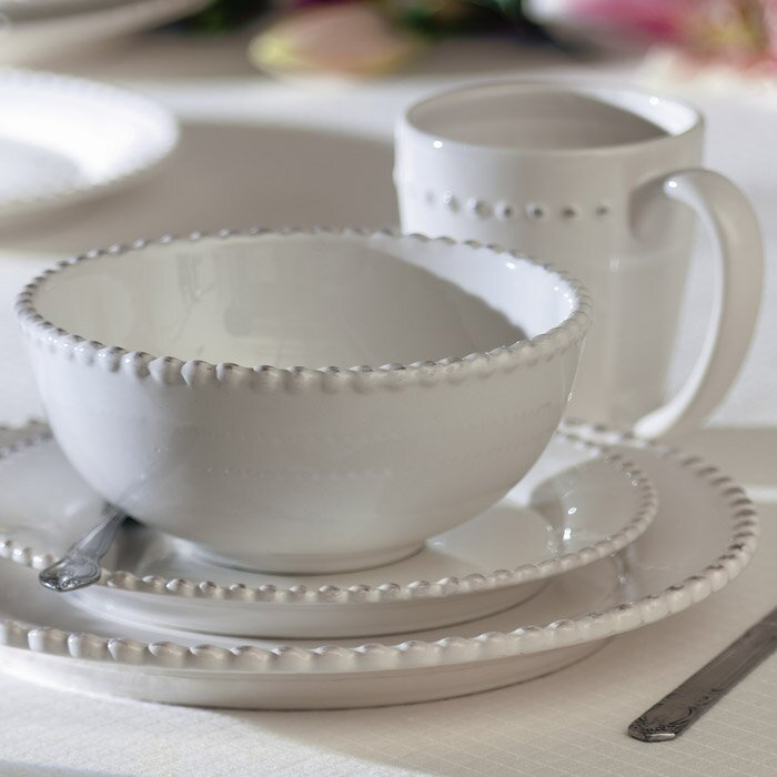 Margeux 16-Piece Dinnerware Set - Shop Drew's Honeymoon House {Jonathan's Guest Suite} #Frenchwhite #whitedishes