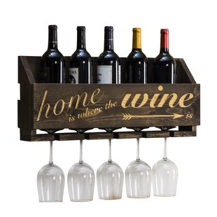 Gallatin Le Luxe Engraved Home is Where 5 Bottle Wall Mounted Wine Rack