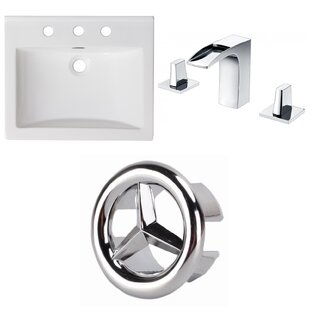 Order Ceramic Rectangular Drop-In Bathroom Sink with Faucet and Overflow ByAmerican Imaginations