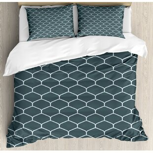 Fish Flakes Like Image with Vintage Style Geometrical Triangle Details Print Duvet Set by Ambesonne