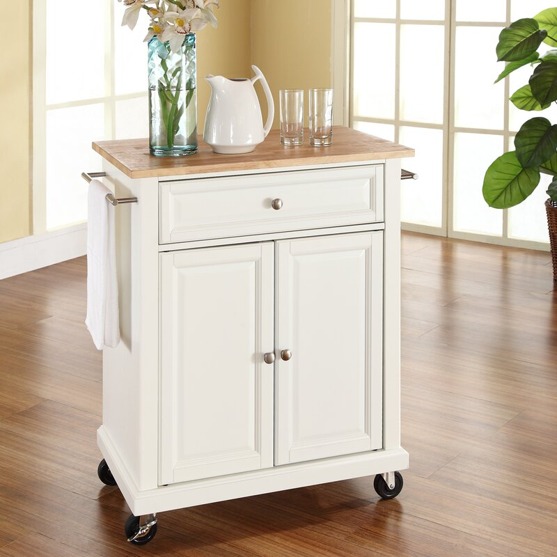 Charlton Home Bexton Kitchen Cart with Wood Top & Reviews | Wayfair