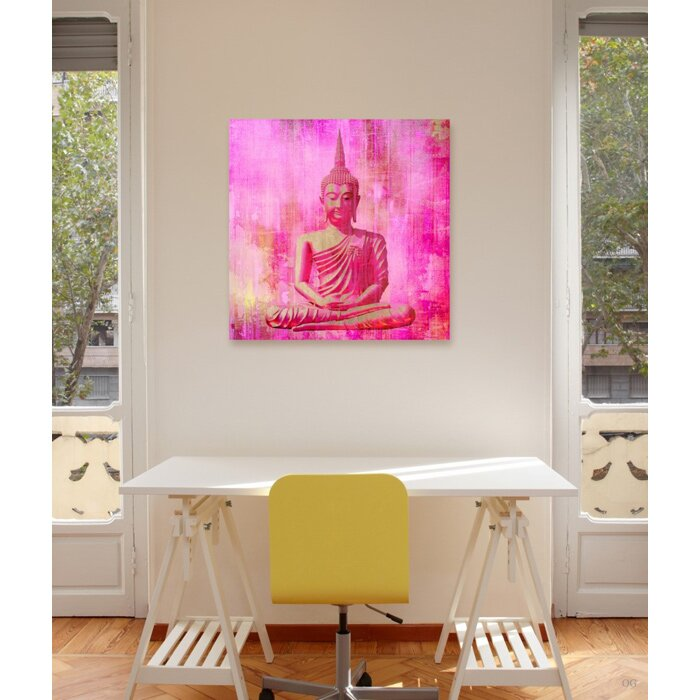 Oliver Gal \'Buddha Pink\' Graphic Art Print on Canvas & Reviews | Wayfair
