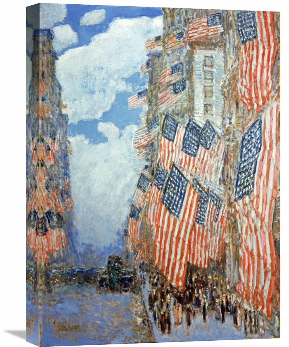Fifth Avenue by Childe Hassam Giclee Fine ArtPrint Repro on Canvas Flags