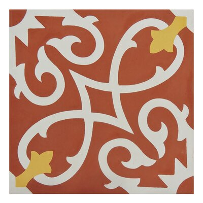 """Moroccan Mosaic Agadir 8"""" x 8"""" Cement Field Tile Color: Red/White"""