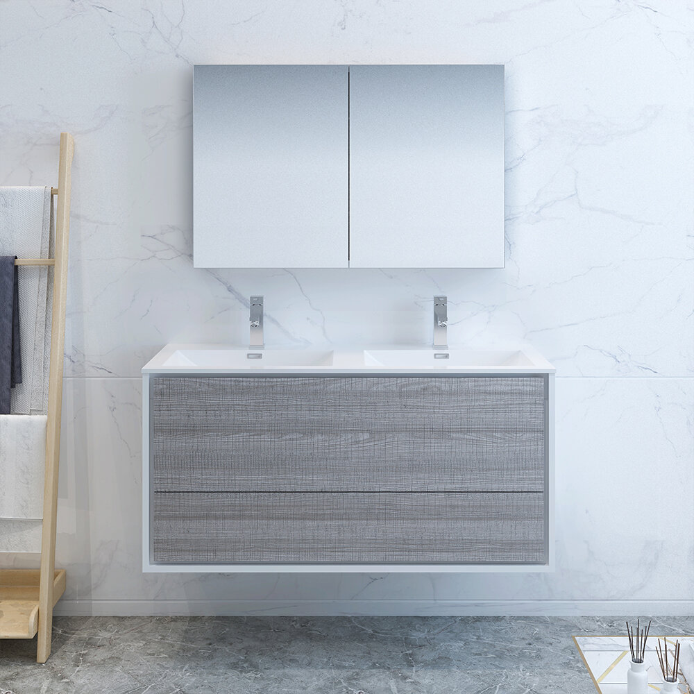 Fresca Senza Tuscany 47 Wall Mounted Double Bathroom Vanity Set With Medicine Cabinet