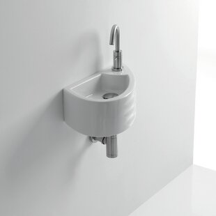 Compare Giga Ceramic 6 Wall Mount Bathroom Sink with Overflow ByWS Bath Collections