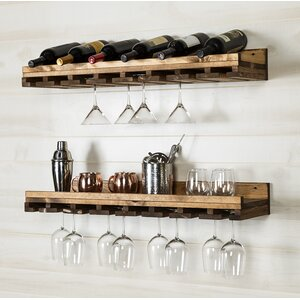 Windsor Rustic Luxe Tiered Wall Mounted Wine Glass Rack (Set of 2)