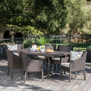 Darby Home Co Tamekia Outdoor Wicker Rectangular 5 Piece Dining Set with Cushions