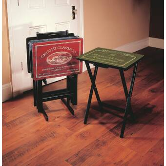 Red Barrel Studio Baudette Tray Table Set With Stand Set Of 4 Reviews Wayfair