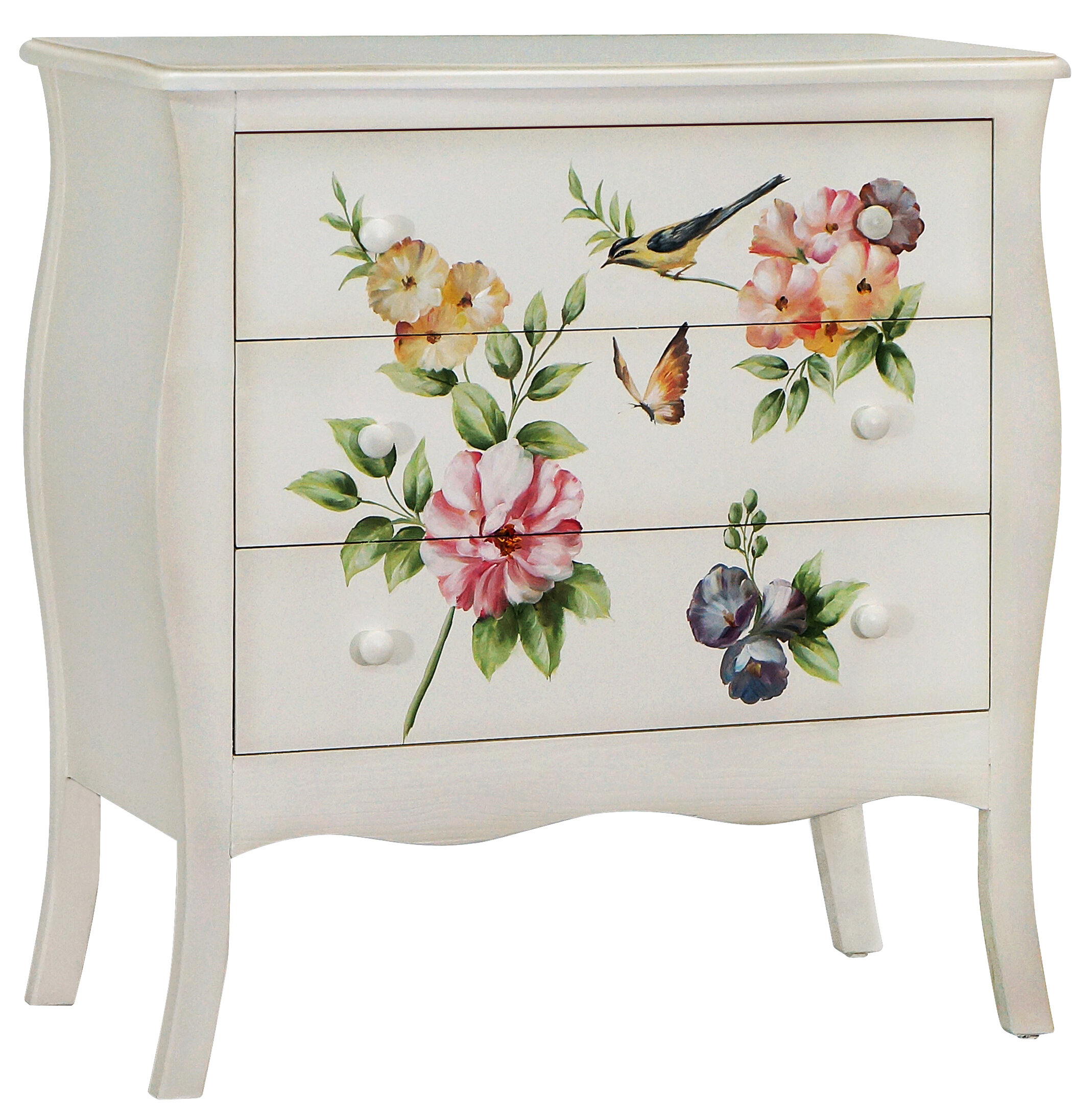 August grove sanger hand painted 3 drawer accent chest wayfair