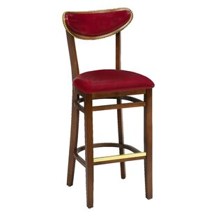 Amoroso Beechwood Moon Shape Back Upholstered Seat Bar Stool Red Barrel Studio
