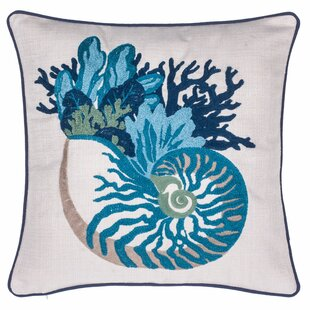 Coral and Sea Snail Crewel Stitch Throw Pillow