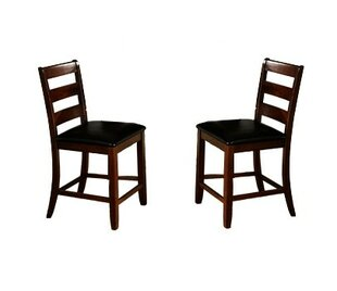 Winston Porter Edgar Ladder Back Wooden Pub with Footrest Upholstered Dining Chair (Set of 2)