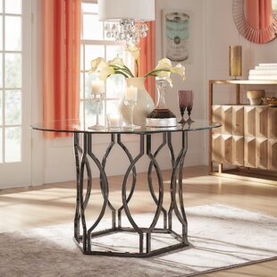 Glass kitchen dining tables youll love wayfair affric glass dining table workwithnaturefo