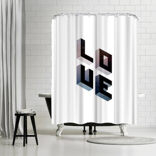 East Urban Home Emanuela Carratoni Geometric Love Shower Curtain