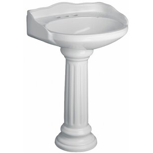 Barclay Victoria Vitreous China Circular Pedestal Bathroom Sink with Overflow