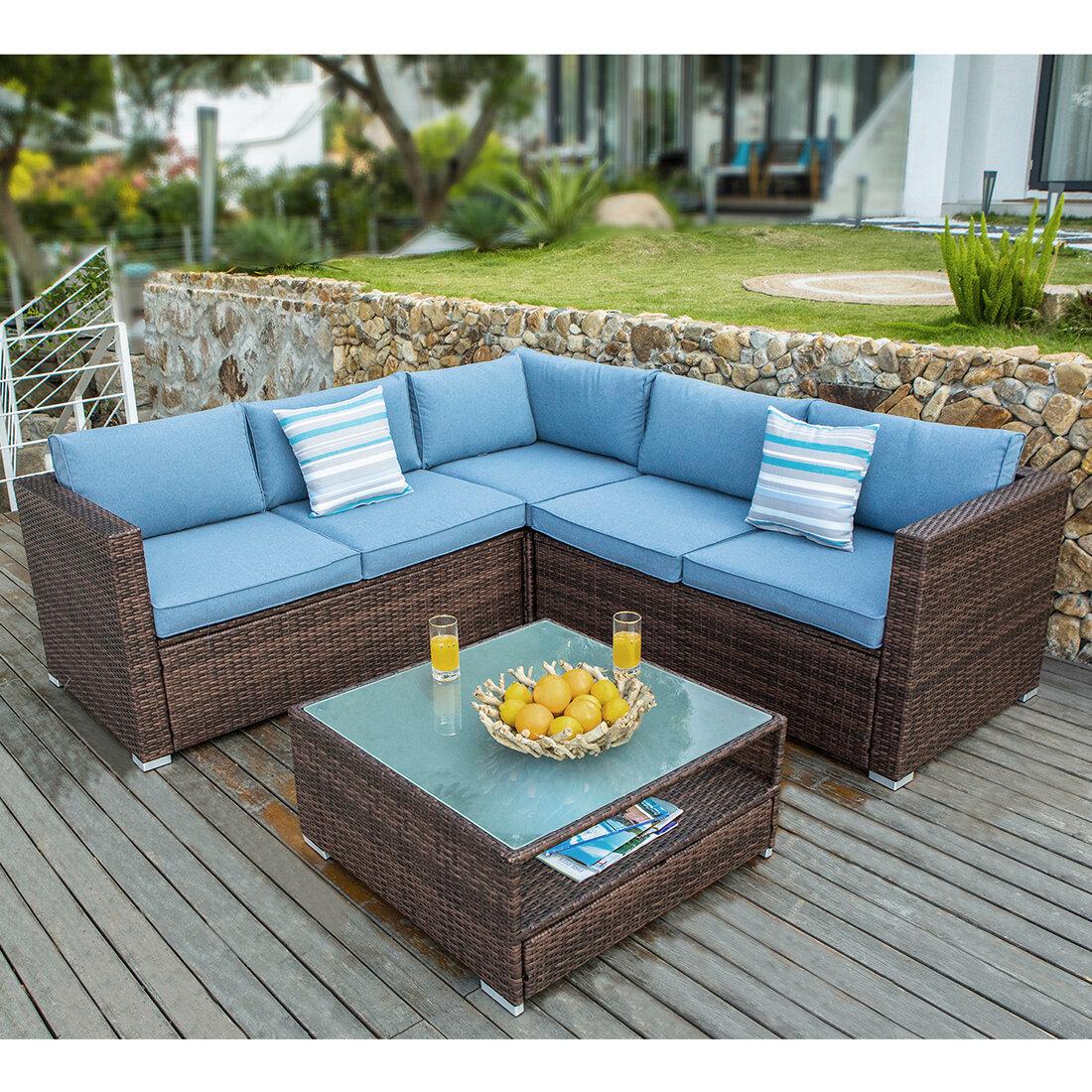 Bayou Breeze Kyle 4 Piece Rattan Sectional Seating Group With Cushions Reviews Wayfair
