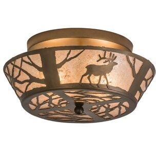 Meyda Tiffany Elk on the Loose 2-Light Flush Mount