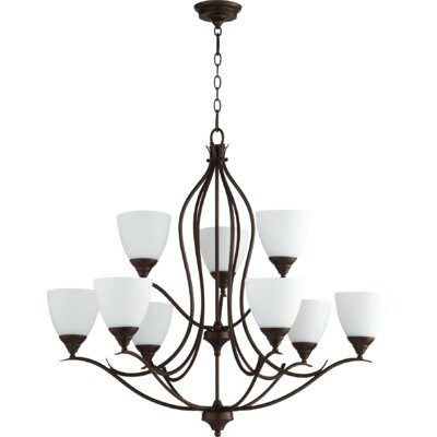 Harnois 9 - Light Shaded Tiered Chandelier Lark Manor Finish: Oiled Bronze