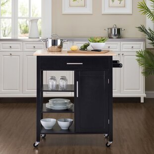 Mclain Kitchen Cart with Solid Wood Top