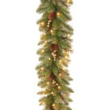 9' Glittery Faux Pine Garland with 100 Clear/White Lights