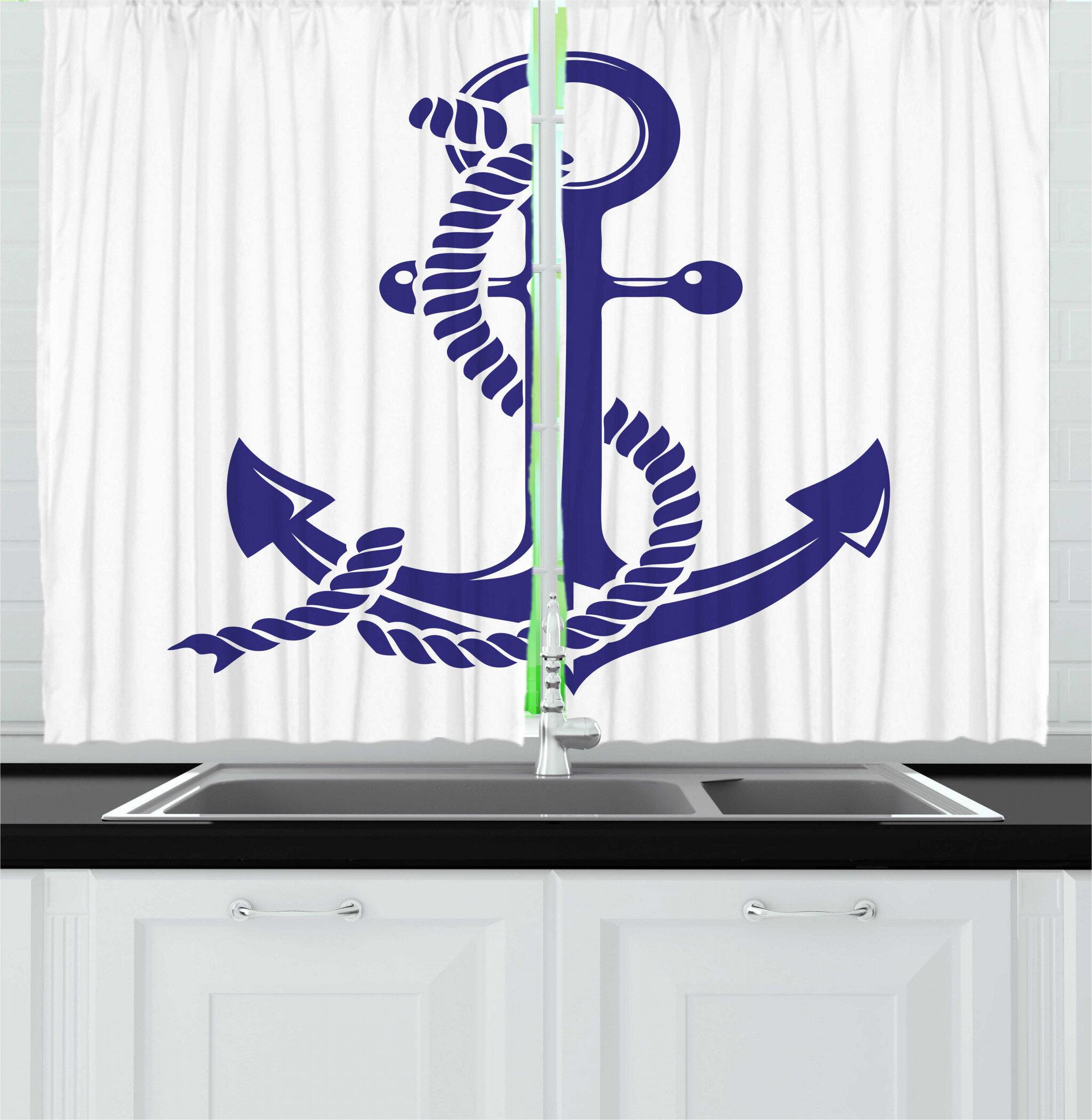 East Urban Home 2 Piece Maritime Nautical Symbol Monochrome Design Rope And Anchor Illustration Kitchen Curtain Set Wayfair
