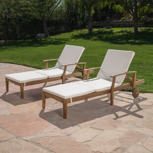 Bloomsbury Market Marler Reclining Chaise Lounge with Cushion (Set of 2)