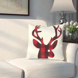 Quail Run Plaid Reindeer Reversible Throw Pillow