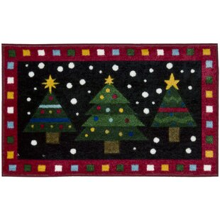 Christmas Trees Red Area Rug