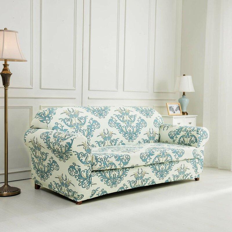 Bon Printed Floral Box Cushion Sofa Slipcover