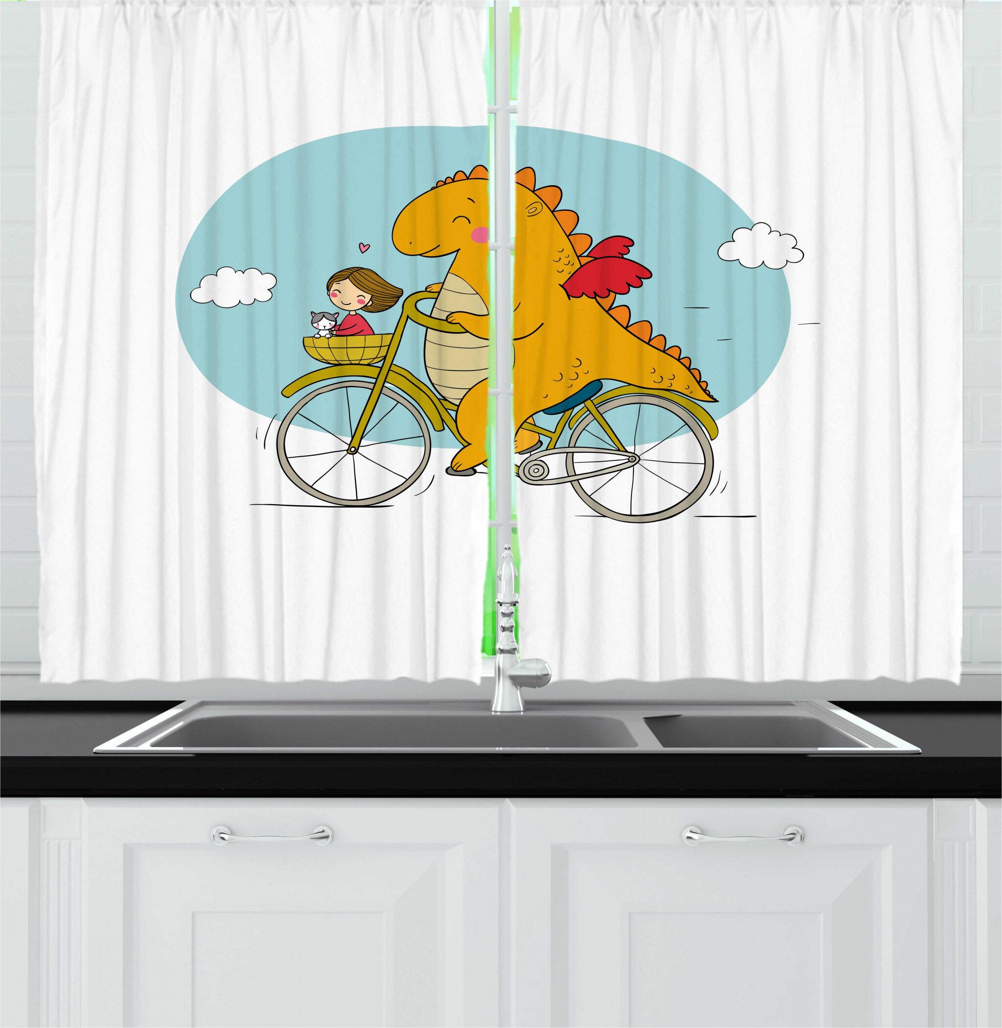 East Urban Home 2 Piece Dinosaur Bicycle Happy Friendly Dragon Traveler With A Girl And A Cat Nursery Cartoon Print Kitchen Curtains Set Wayfair