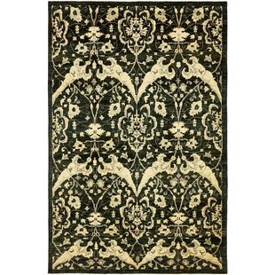 Buy luxury One-of-a-Kind Huntingdon Hand-Knotted  6'7 x 9'10 Wool Black/Beige Area Rug By Isabelline